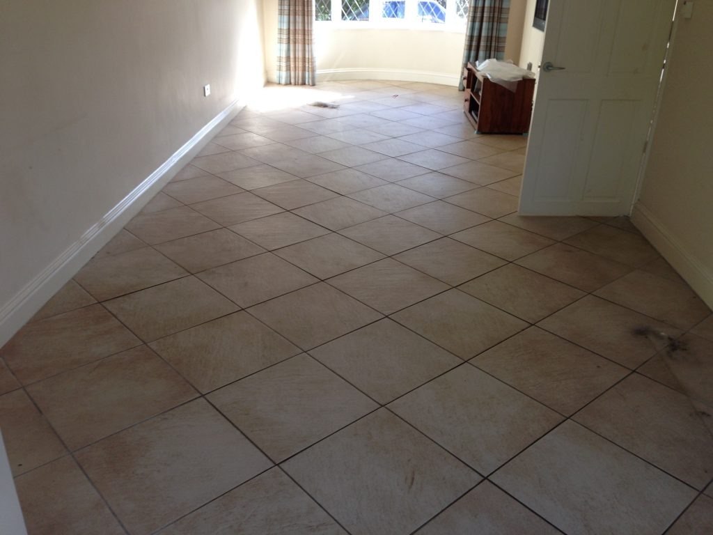 Tile and grout floor before cleaning in Hampshire
